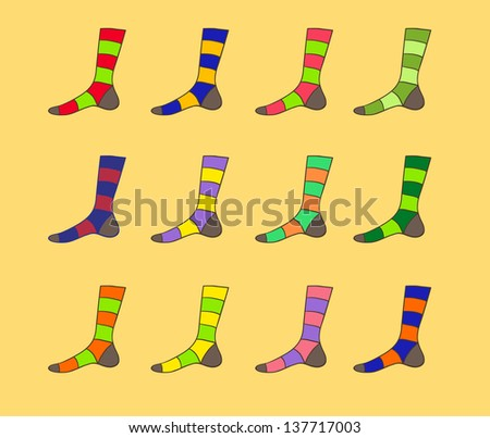 Raster multicolored striped sock set illustration