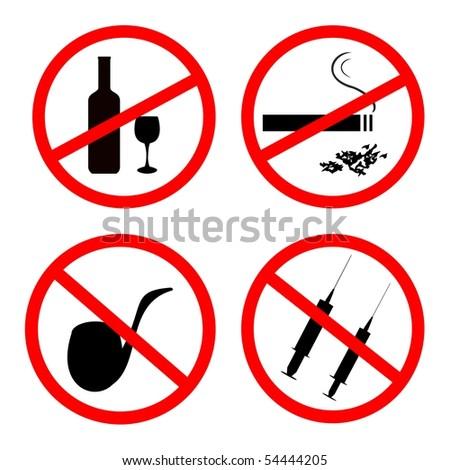 Raster of: No smoking, No alcohol and no drugs signposts