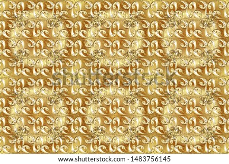 Raster oriental ornament. Oriental ornament in the style of baroque. Golden pattern on yellow and beige colors with golden elements. Traditional classic golden pattern.