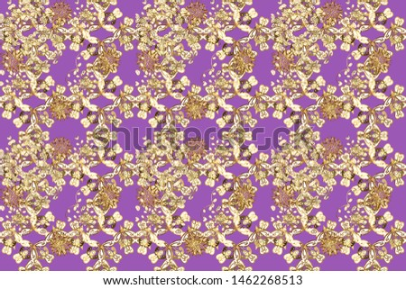 Raster oriental ornament. Oriental ornament in the style of baroque. Traditional classic golden pattern. Golden pattern on violet and brown colors with golden elements.