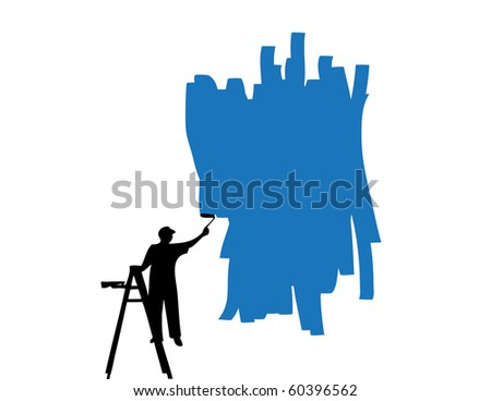 Raster painter painting wall - stock photo