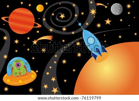 Raster picture with alien in the spaceship in the universe