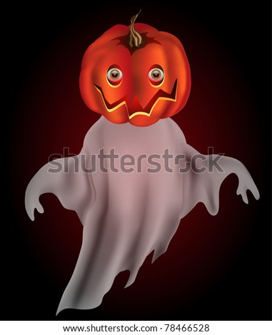 Raster Pumpkin headed ghost with transparency