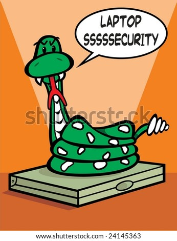 raster rattlesnake protecting laptop, concept information security