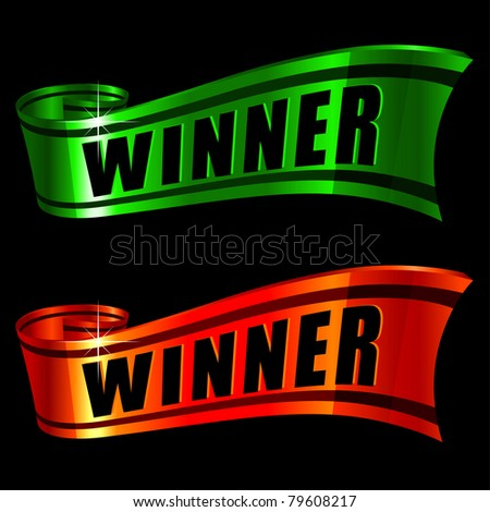raster red and green glossy ribbons with word winner on it