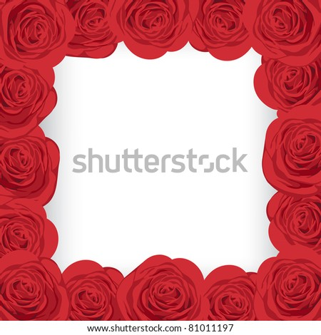 Raster red roses frame with place for your text.