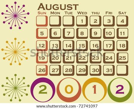 august calendar 2012. calendar 2012 uk. results