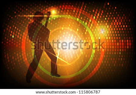 raster rock guitarist silhouette on colorful background, transparency used, vector version