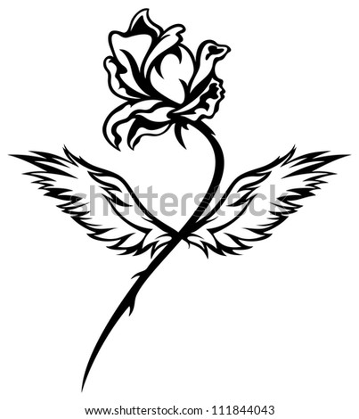 raster - romantic winged rose black and white illustration  (vector version is available in my portfolio)