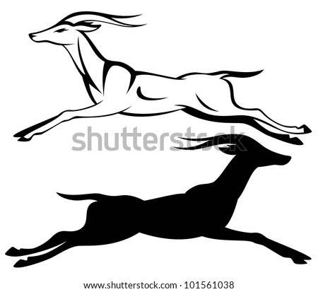 raster - running antelope black and white outline (vector version is available in my portfolio)