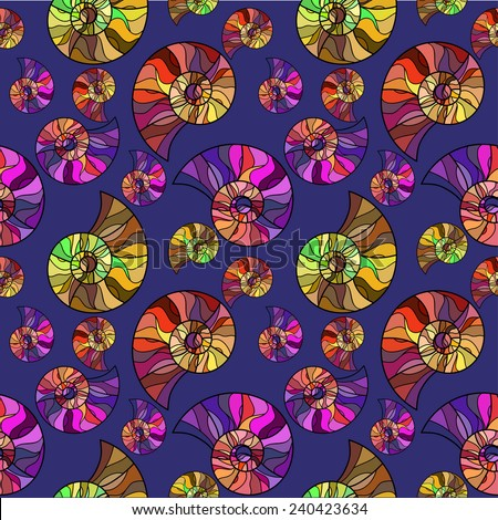 Raster Seamless abstract hand-drawn ornament pattern with colorful snails. Seamless pattern can be used for wallpaper, pattern fills, web page background, surface textures.