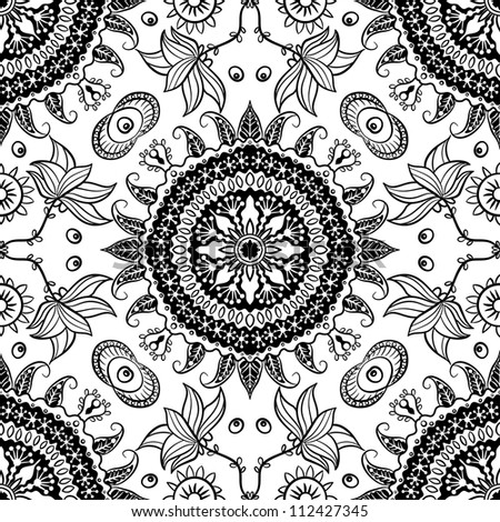 raster seamless black floral pattern background