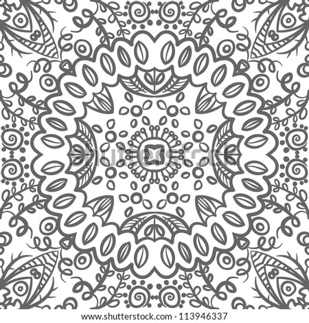 raster seamless gray floral pattern background - stock photo