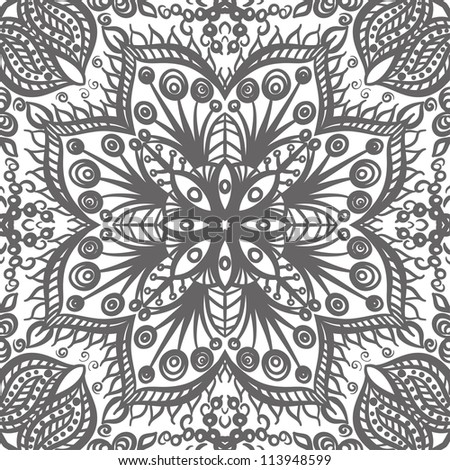 raster seamless gray floral pattern background