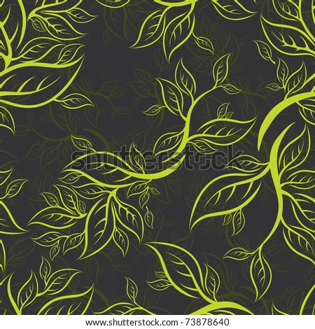 RASTER Seamless green floral pattern with leafs - stock photo