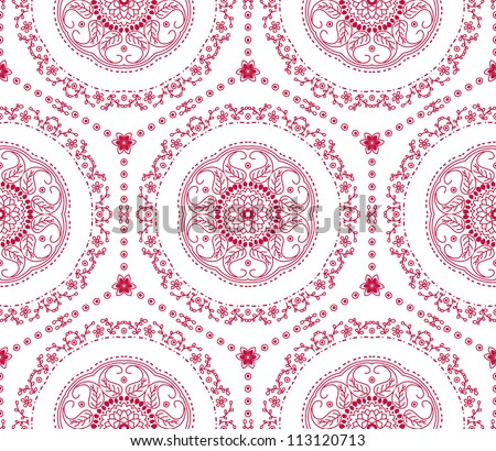 raster seamless red floral pattern background