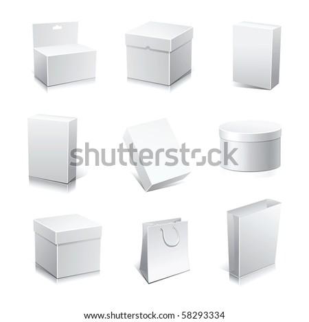 Raster set blank white boxes isolated on white.