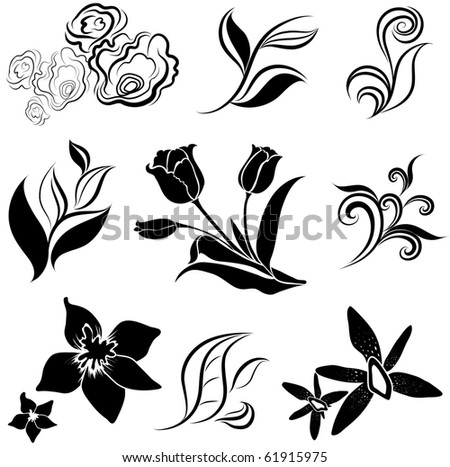 """RASTER Set of black flower and leafs design elements (from my big """"Flower-set collection"""")"""
