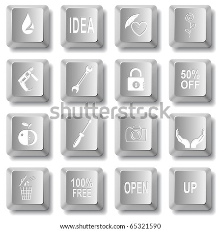 Raster set of computer keys