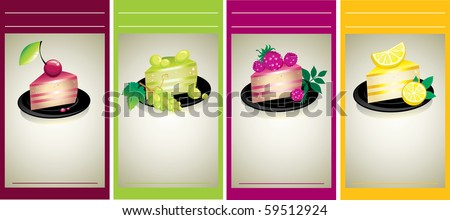 RASTER Set of design samples with delicious cheese cakes with fruits and berries