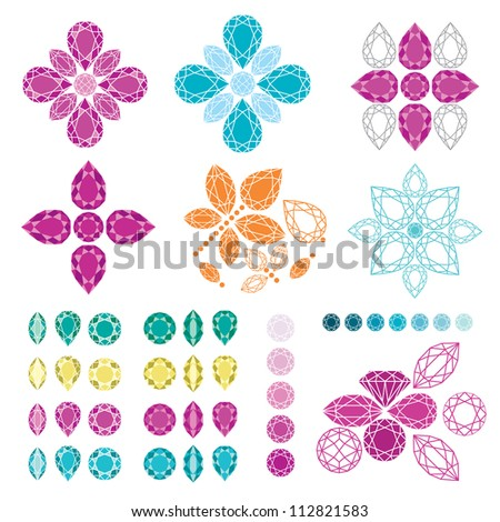 RASTER set of diamond design elements - cutting samples - stock photo