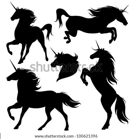 raster   set of fine unicorn