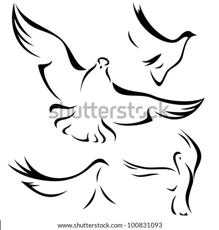 raster - set of flying doves - black outlines over white (vector version is available in my portfolio)