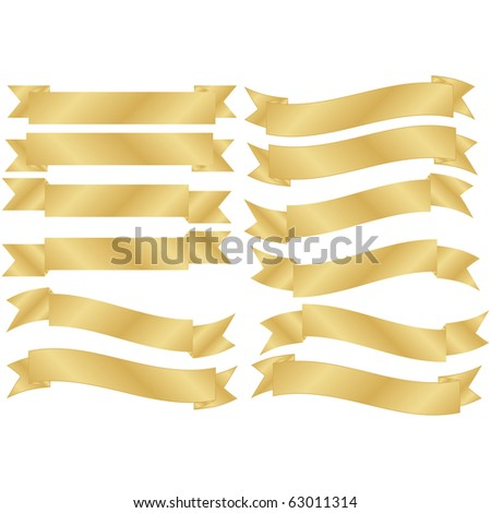 Raster Set of 12 Gold Banners