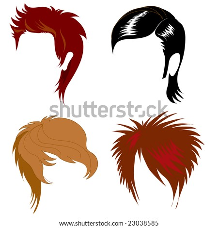 hairstyles for medium length natural hair : Raster Set Of Hair Style Samples For Man Stock Photo 23038585 ...