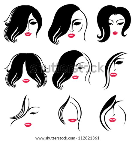 hairstyles for medium length natural hair : Raster Set Of Hair Styling For Woman With Red Lips Stock Photo ...