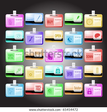 Raster set of id cards. 25 elements.
