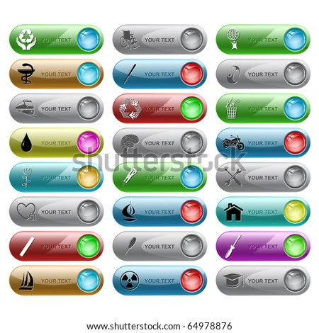 Raster set of internet buttons. 24 elements.