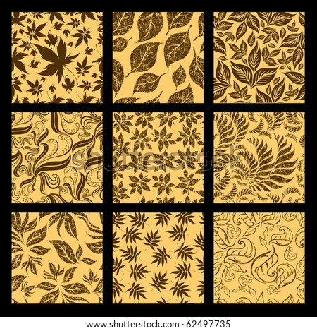 "RASTER Set of nine Seamless autumn patterns from leaves. Thanksgiving (from my big ""Seamless collection"") - stock photo"