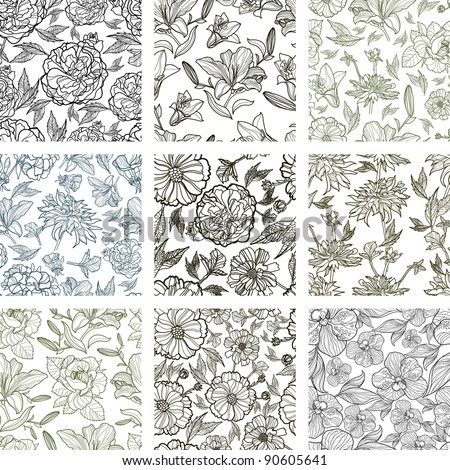 RASTER set of nine seamless floral patterns