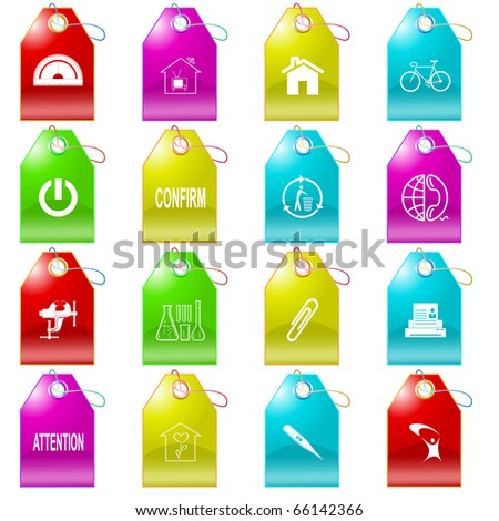 Raster set of tags - stock photo