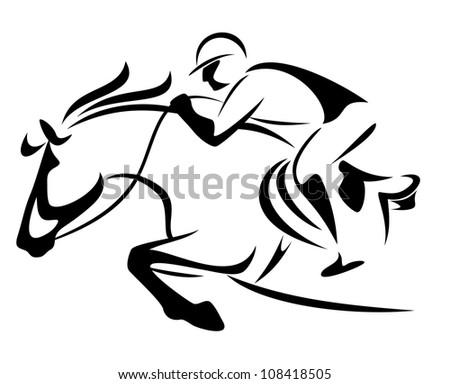 Horse Jockey Logo Horse And Jockey Vector