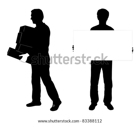 raster silhouette of two man