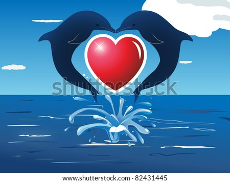 Raster Two Dolphins Jumping Out Of The Water Making A Heart