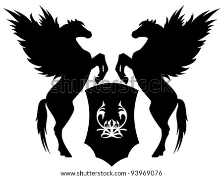 raster - two rearing pegasus with shield illustration (vector version is available in my portfolio)
