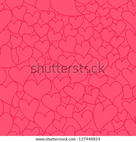Raster valentine seamless pattern with stylized artistic hand drawn hearts.