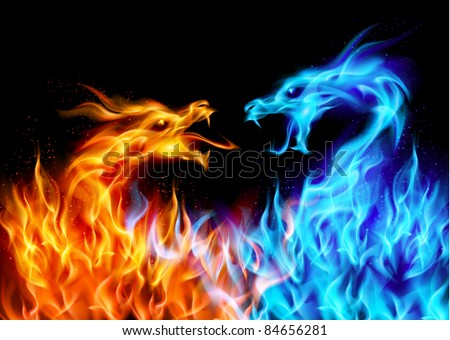 Raster version. Abstract blue and red fiery dragons. Illustration on black background for design