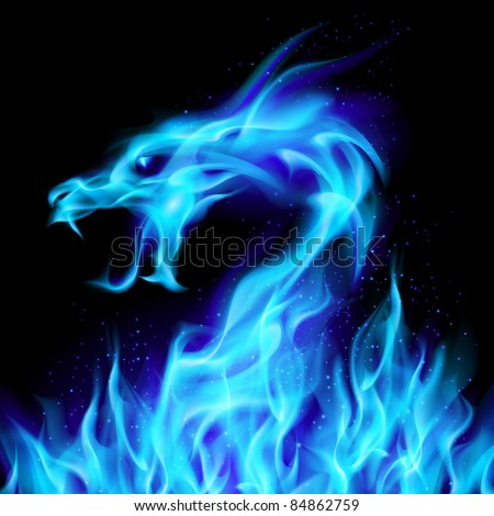 Raster version. Abstract blue fiery dragon. Illustration number two on black background for design