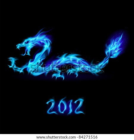 Raster version. Abstract blue fiery dragon. Illustration on black background for design