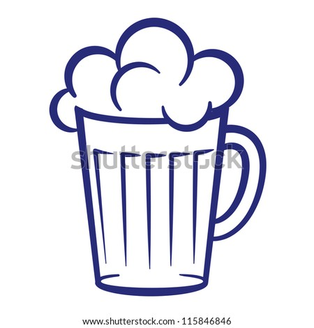 Raster version. Abstract painted glass of beer. Illustration on white background