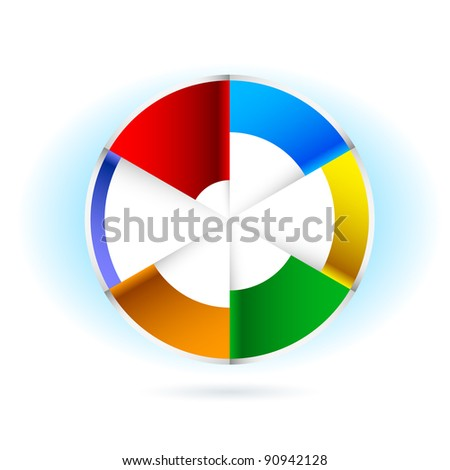 Raster version. Abstract Pie chart. Illustration for design on white background