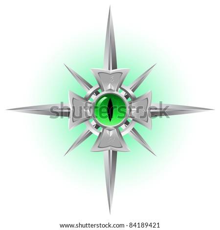 Raster version. Amulet. Dragon green Eye. Illustration isolated on white background