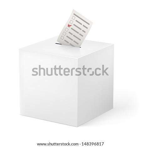 Raster version. Ballot box with Ballot paper. Illustration on white background