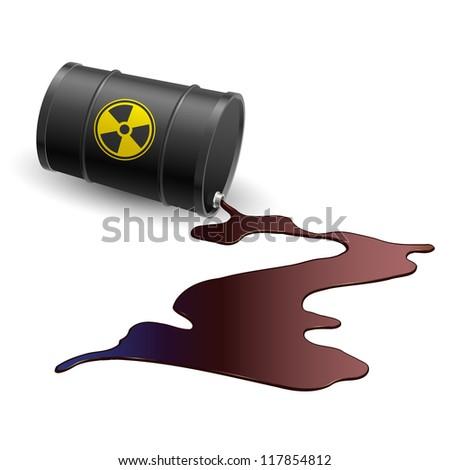 Raster version. Barrel throwing toxic liquid. Illustration on white