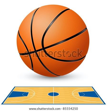 Raster version. Basketball and basketball court floor plan. Illustration on white background.