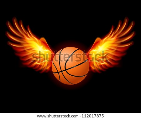 Raster version. Basketball-Fiery wings, a color illustration on a black background
